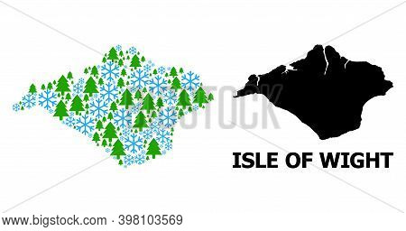 Vector Composition Map Of Isle Of Wight Organized For New Year, Christmas, And Winter. Mosaic Map Of