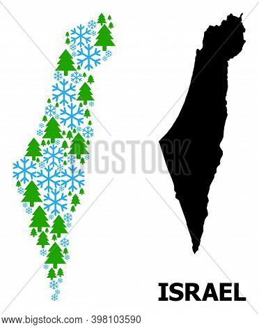 Vector Mosaic Map Of Israel Created For New Year, Christmas, And Winter. Mosaic Map Of Israel Is Mad