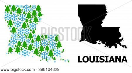 Vector Mosaic Map Of Louisiana State Designed For New Year, Christmas, And Winter. Mosaic Map Of Lou