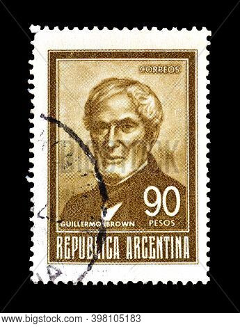 Argentina - Circa 1967: Cancelled Postage Stamp Printed By Argentina, That Shows Guillermo Brown, Fi