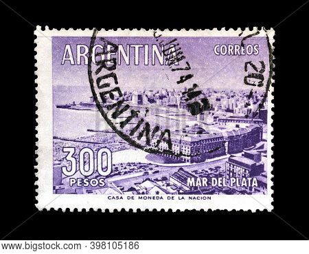 Argentina - Circa 1963: Cancelled Postage Stamp Printed By Argentina, That Shows Town Mar Del Plata
