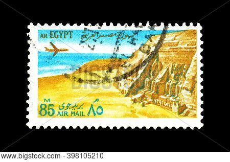 Egypt - Circa 1972: Cancelled Postage Stamp Printed By Egypt, That Shows Plane Over Temples At Abu S