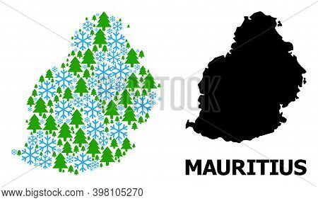 Vector Mosaic Map Of Mauritius Island Done For New Year, Christmas, And Winter. Mosaic Map Of Maurit