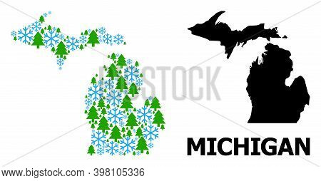 Vector Mosaic Map Of Michigan State Constructed For New Year, Christmas, And Winter. Mosaic Map Of M