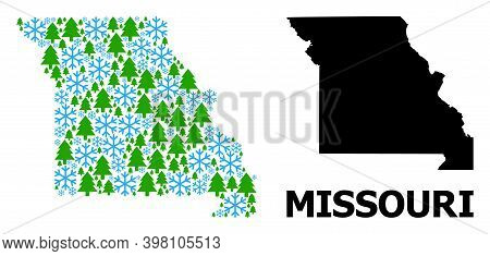 Vector Mosaic Map Of Missouri State Created For New Year, Christmas, And Winter. Mosaic Map Of Misso