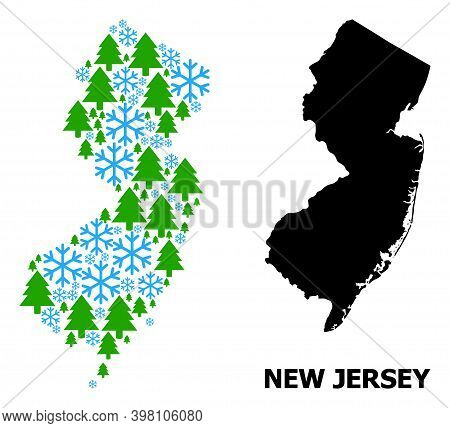 Vector Mosaic Map Of New Jersey State Combined For New Year, Christmas, And Winter. Mosaic Map Of Ne