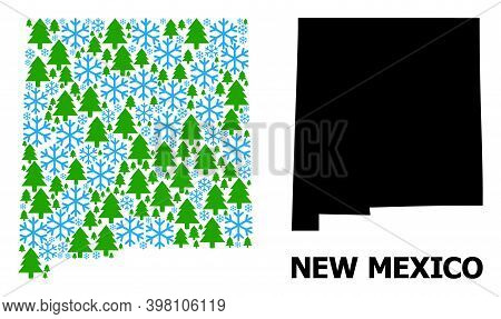 Vector Collage Map Of New Mexico State Constructed For New Year, Christmas, And Winter. Mosaic Map O