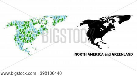Vector Mosaic Map Of North America And Greenland Done For New Year, Christmas, And Winter. Mosaic Ma