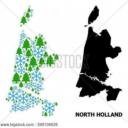 Vector Mosaic Map Of North Holland Constructed For New Year, Christmas, And Winter. Mosaic Map Of No