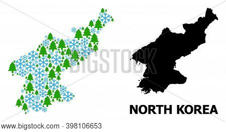 Vector Mosaic Map Of North Korea Done For New Year, Christmas, And Winter. Mosaic Map Of North Korea