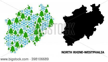 Vector Composition Map Of North Rhine-westphalia State Created For New Year, Christmas, And Winter.