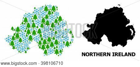 Vector Mosaic Map Of Northern Ireland Combined For New Year, Christmas, And Winter. Mosaic Map Of No