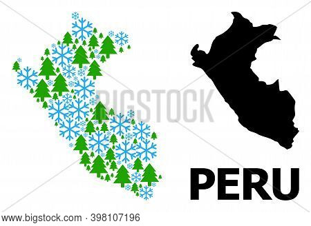 Vector Mosaic Map Of Peru Organized For New Year, Christmas, And Winter. Mosaic Map Of Peru Is Compo