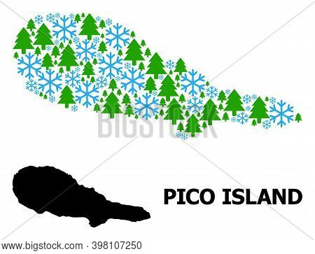 Vector Mosaic Map Of Pico Island Constructed For New Year, Christmas, And Winter. Mosaic Map Of Pico