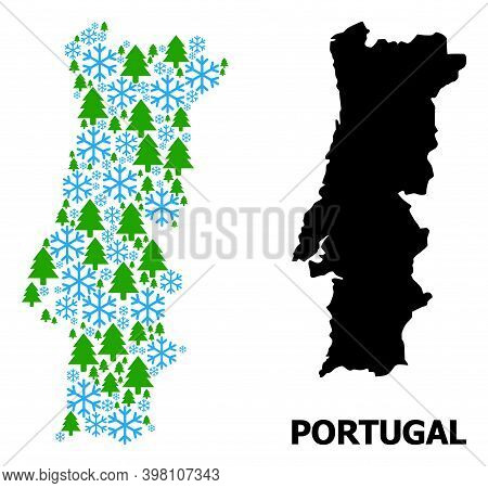 Vector Mosaic Map Of Portugal Organized For New Year, Christmas, And Winter. Mosaic Map Of Portugal