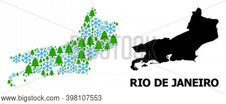 Vector Mosaic Map Of Rio De Janeiro State Constructed For New Year, Christmas, And Winter. Mosaic Ma