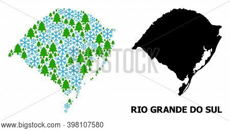 Vector Collage Map Of Rio Grande Do Sul State Organized For New Year, Christmas, And Winter. Mosaic