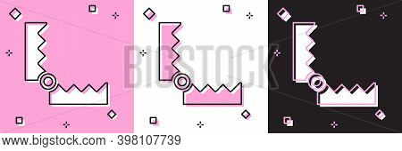 Set Trap Hunting Icon Isolated On Pink And White, Black Background. Vector