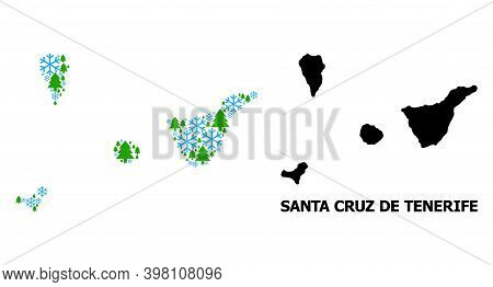 Vector Mosaic Map Of Santa Cruz De Tenerife Province Organized For New Year, Christmas, And Winter.
