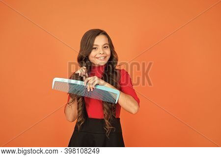 Perfect Hair. Large Comb. Girl Gorgeous Long Hair Hold Big Comb. Hairdresser Salon. Combing Hair. Ch