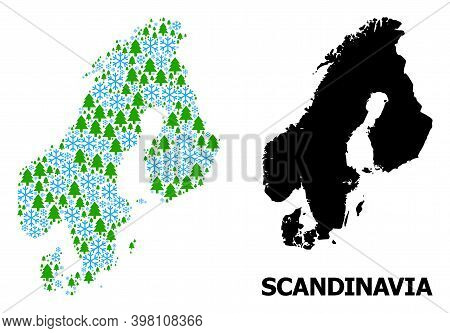 Vector Mosaic Map Of Scandinavia Combined For New Year, Christmas, And Winter. Mosaic Map Of Scandin