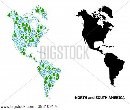 Vector Mosaic Map Of South And North America Organized For New Year, Christmas, And Winter. Mosaic M