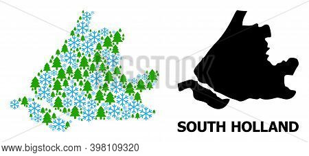 Vector Mosaic Map Of South Holland Organized For New Year, Christmas, And Winter. Mosaic Map Of Sout