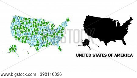 Vector Collage Map Of Usa Territories Constructed For New Year, Christmas, And Winter. Mosaic Map Of