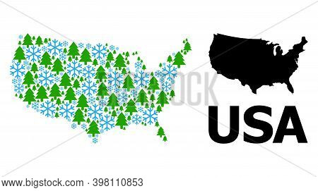 Vector Mosaic Map Of Usa Constructed For New Year, Christmas, And Winter. Mosaic Map Of Usa Is Made