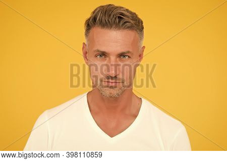 Caucasian Man With Healthy Skin And Beard Stubble. Handsome Guy With Short Facial Hair. Skin Care Ro