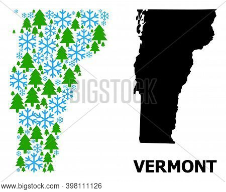 Vector Mosaic Map Of Vermont State Done For New Year, Christmas, And Winter. Mosaic Map Of Vermont S