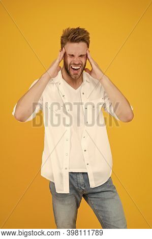Headache Migraine And Spasm. Health Problems. Business Life. Horrible Headache. Handsome Man In Jean