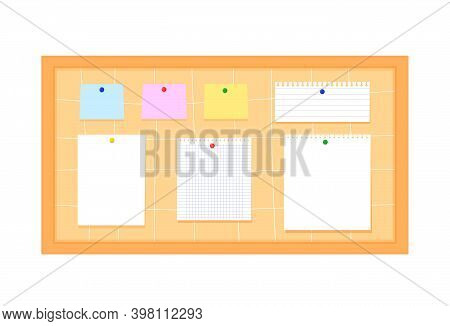 Bulletin Board Scrapbook With Rectangular Paper, In Line, Stickers And Colorful Buttons. Vector Illu