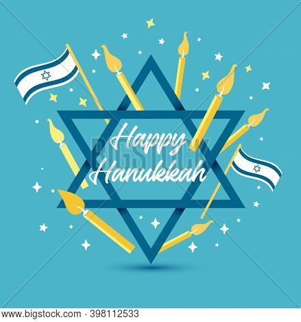 Vector Illustration For Jewish Holiday Hanukkah, Stars And Decoration With Happy Hanukkah Lettering
