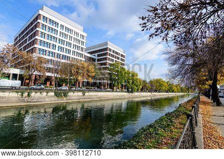 New Offices Buildings Near Dambovita River In Timpuri Noi (new Times) Area In Bucharest, Romania, In