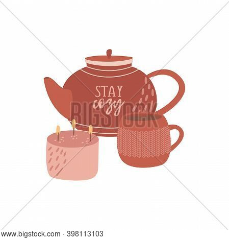 Flat Vector Cartoon Illustration Of A Teapot, A Cup Of Tea With A Knitted Ornament And A Burning Sce