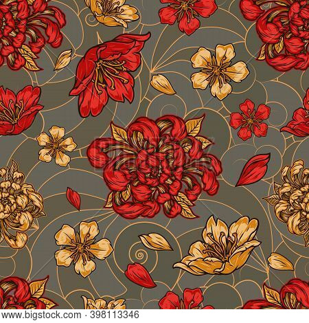 Vintage Floral Colorful Seamless Pattern With Beautiful Sakura And Chrysanthemum Flowers And Petals