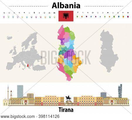 Albania Administrative Divisions Map. Flag Of Albania. Tirana Cityscape. Vector Illustration
