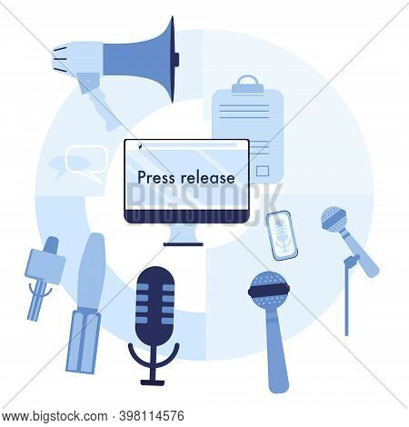Press Release Infographic Elements.microphones And Recorders For Taking Interview.breaking News And