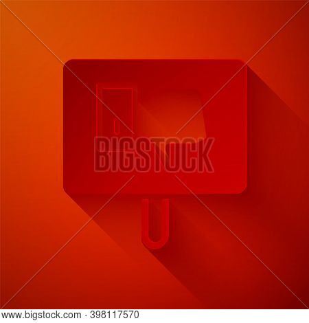 Paper Cut Protest Icon Isolated On Red Background. Meeting, Protester, Picket, Speech, Banner, Prote