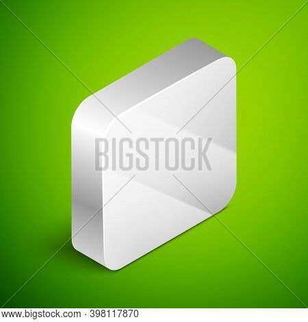 Isometric Line Aftershave Bottle With Atomizer Icon Isolated On Green Background. Cologne Spray Icon