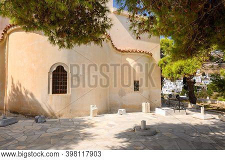 The Courtyard Of The Byzantine Church Of Agia Triada In Lefkes On Paros Island, Cyclades, Greece