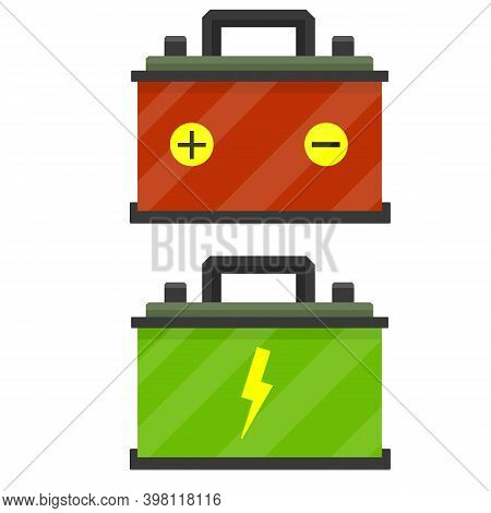 Red Battery. Rechargeable Accumulator Power Supply. Electricity In The Car. Energy Reserve. The Term