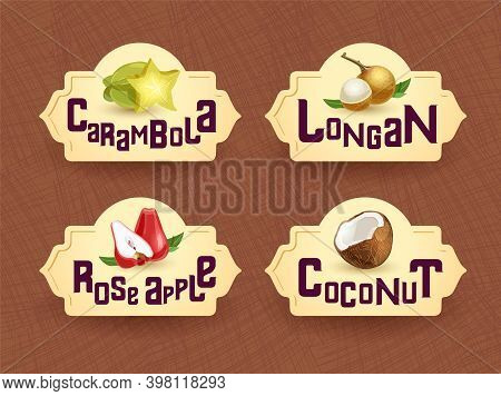 Vector Logo For Exotic Thai Fruits, Fruits From Thailand, Packaging Sticker, Decorative Badge With T