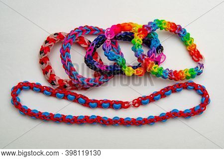 A Lot Of Rainbow Loom Bracelet Rubber Colorful Hobby