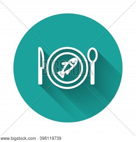 White Line Served Fish On A Plate Icon Isolated With Long Shadow. Green Circle Button. Vector.