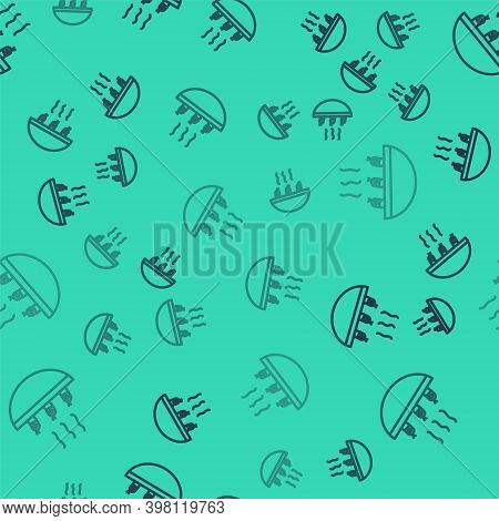 Black Line Soup With Shrimps Icon Isolated Seamless Pattern On Green Background. Tom Yum Kung Soup.