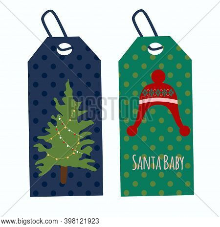 Festive Tags Or Labels.new Year 2021 Or Christmas Celebration.winter Holidays Decorations.knitted Ha
