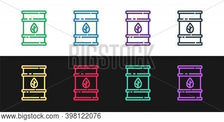 Set Line Bio Fuel Barrel Icon Isolated On Black And White Background. Eco Bio And Canister. Green En