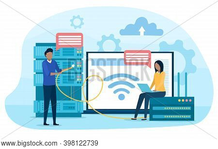 System Administrator. People Working On Computer And Doing Technical Work With Server. Configuration